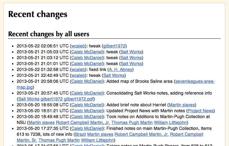 A screenshot of the recent changes page on my Wiki.